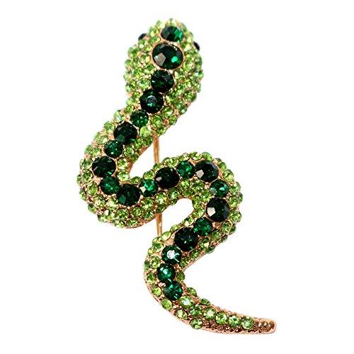Navachi 18k Gold Plated Green Crystal Snake Az7243b Brooch Pin