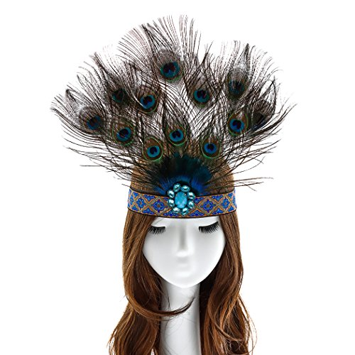 Aukmla Peacock Indian Feather Fascinator Decorative Feather Headpiece Native Crown Tiara Headdress Costume Headband for Fancy Party