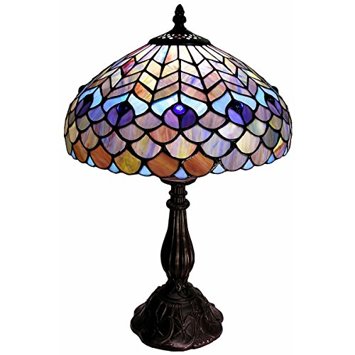 Copper Feather Table Lamp - Whse of Tiffany P400490 Tiffany-Style Peacock Table Lamp
