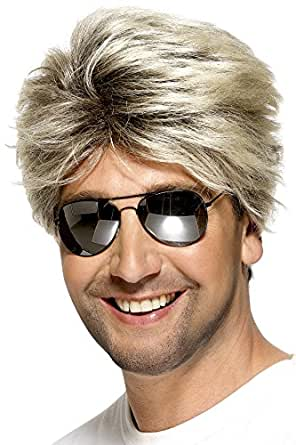 Smiffy's Men's Short Blonde Blow-Out Wig, One Size, 80's Street Wig, 5020570420294