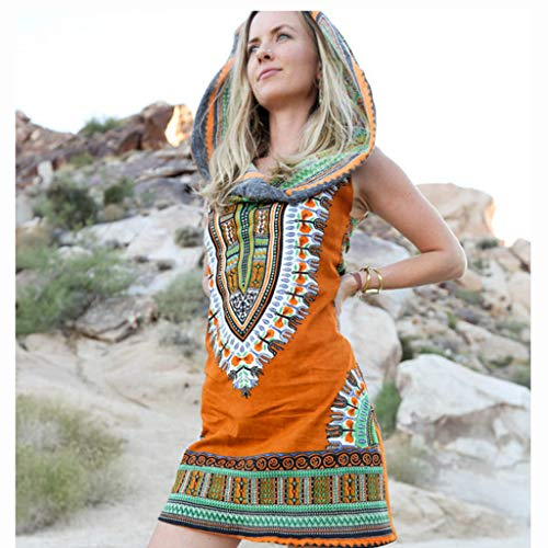 Women Boho Hooded Tunic Dress,Lady Summer Fashion Sleeveless Vintage Print Mini Beach Dresses (Large, Orange) by LANTOVI Women Dress (Image #3)