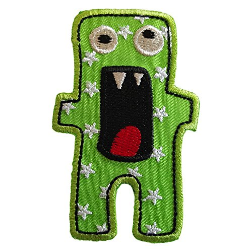 2 iron-on appliques set - Scary Monster 5X7Cm and Crocodile 9X3Cm embroidered application set by TrickyBoo Design Zurich -