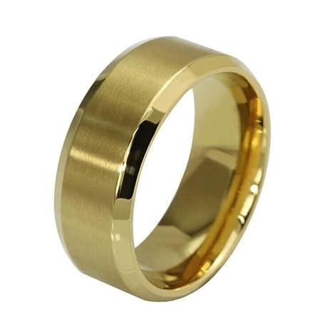 1e74a4d24928 Toamen Nuevo Anillo De Acero Inoxidable Anillo De Oro Negro De Titanio Para  Hombre (Tamaño