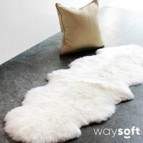 WaySoft (TM) Eco-Friendly Ivory New Zealand/Australia Sheepskin Rug—Genuine Wool; 2ft x 6ft by WaySoft
