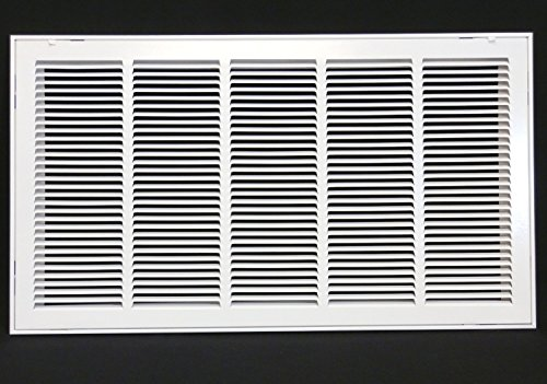 30'' X 16 Steel Return Air Filter Grille for 1'' Filter - Removable Face/Door - HVAC DUCT COVER - Flat Stamped Face - White [Outer Dimensions: 32.5''w X 18.5''h] by HVAC Premium