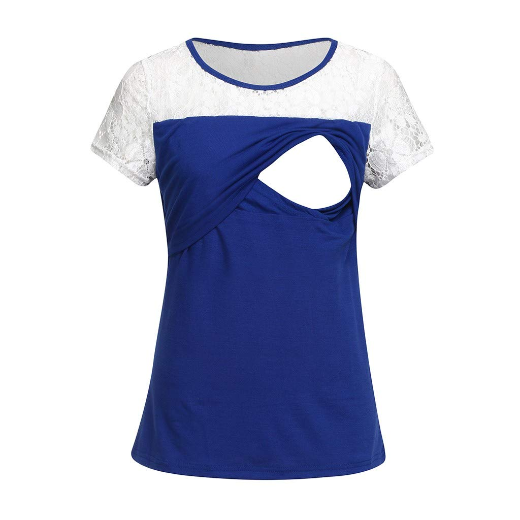Nursing Maternity Top,Pregnant Breastfeeding Shirt,Jchen Women Summer Lace Patchwork Double Layered Postpartum T-Shirt (M/US Size:6, Blue)