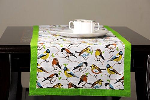 Mayfair Linen 100% Cotton Table Runner Designed in France (14'' x 72'', Birdie) (Mayfair Tables)