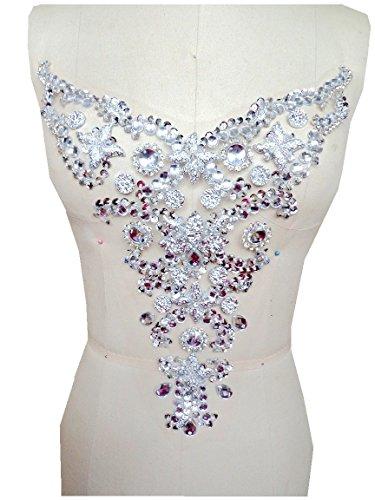 New 30X28cm handmade crystal patches trim silver rhinestones applique Manual Made Stones Sew On Bridal Beaded Trim Wedding Trims