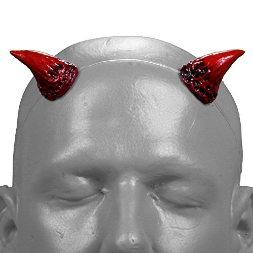 [Puck v2 Red & Black Devil / Demon Horns w/ adjustable clear headband] (Satyr Halloween Costumes)