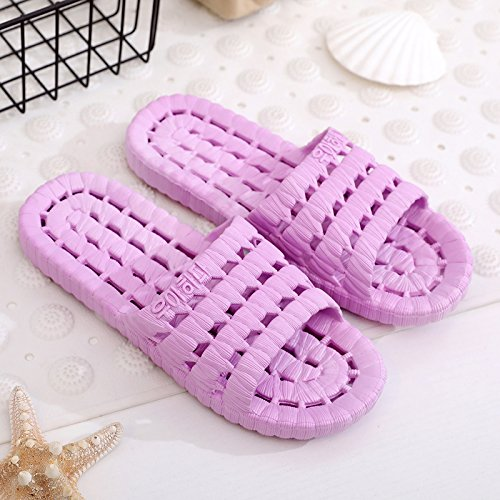 fankou Slippers Male Summer Stay Cool with a Couple of Indoor Slippers Thick Plastic Bath Anti-Slip Bath Slippers Female Soft Bottom,37-38, Dripping Purple