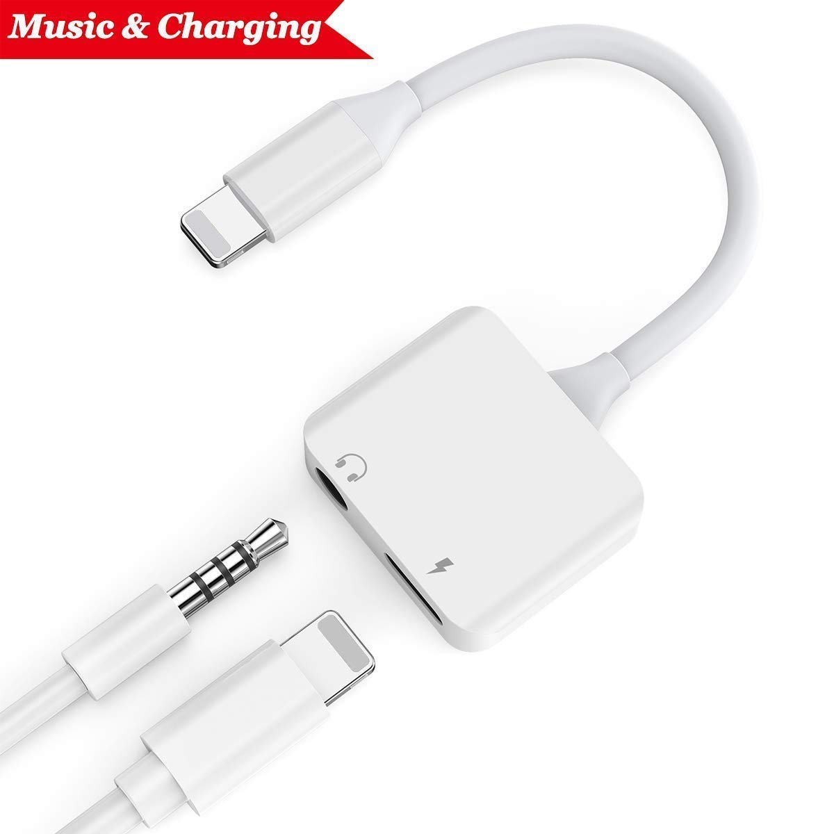 Headphone Jack Adapter for iPhone Xs Adapter Earphone Audio Splitter and Charger Connector for iPhone X/XS /XR/XS max/7/7 Plus /8/8Plus Support to Listen Music and Charger Support iOS 12 System -White iNassen