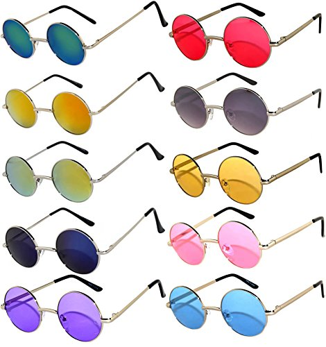 Round Retro Vintage Mirror Lens Gradient Lens Sunglasses Metal Frame 10 Pack Mix – Red Yellow Blue Green Pink Purple Smoke ... - Colored Lens Glasses