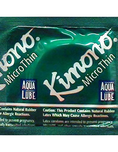 Kimono Microthin with Aqua Lube Premium Latex Condoms with Pocket/Travel Case-24 Count (Brass Travel Case) ()