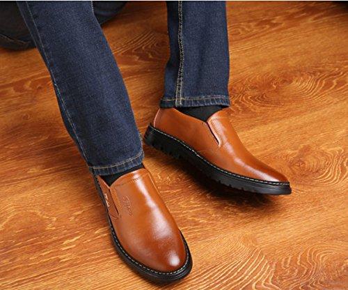 ZFNYY Hommes Souliers Occasionnels De Mode D'affaires en Cuir Respirant Chaussures Faible Aide Définir Les Pieds Jaune ezZPMsXA