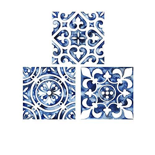 Cobalt Tile by Grace Popp, 3 Piece Art Print Set, 12 X 12 Inches Each, Pattern Art