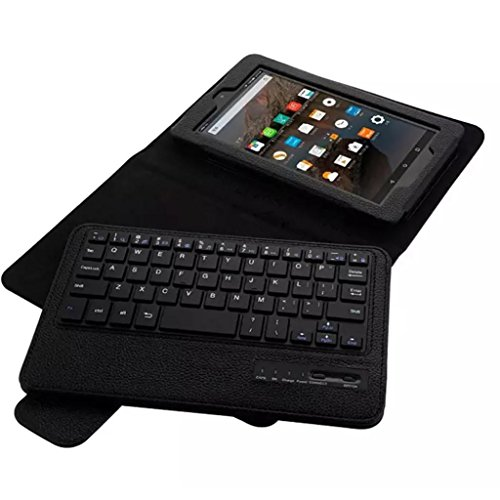 Kindle Fire 7 Cover Case,Bluetooth Keyboard Tablet Leather Case Cover For Kindle Fire HD 7 2015 7Inch (Black)