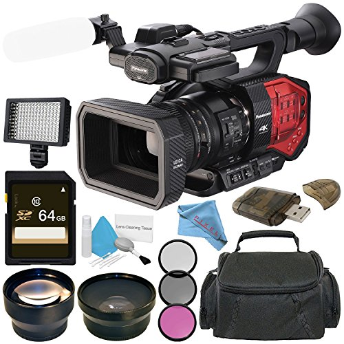 Panasonic AG-DVX200 4K Camcorder with Four Thirds Sensor and Integrated Zoom Lens + 64GB SDXC Card + 72mm 3 Piece Filter Kit + 72mm Wide Angle Lens + Carrying Case + Deluxe Cleaning Kit Bundle