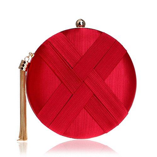 Mode Rond Main TuTu Sacs Sac Sac en Fête Lady Femmes de Main la de Chaîne Gland à de épaule Petit à Mixte Sac red Métal de Soirée Mariage C554w