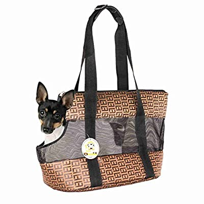 Travel Pet Carrier Purse By ANGEL DOGGY- Small Dog & Cat Polyester Travel Tote- Comfortable, Soft Sided, Airline Approved Shoulder Handbag For Puppy & Kitten- Go Shopping, Hiking, Walking, With Doggy