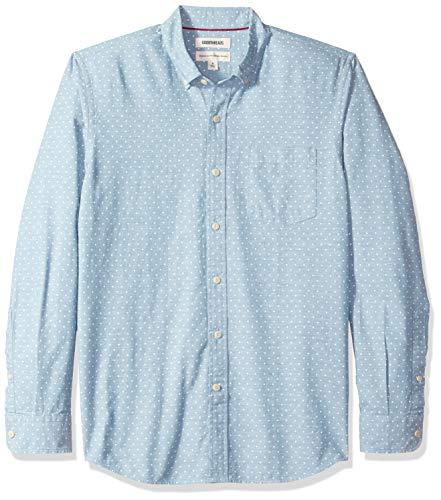 Goodthreads Men's Standard-Fit Long-Sleeve Polka Dot Chambray Shirt, Light Blue/White, Large Blue White Polka Dot