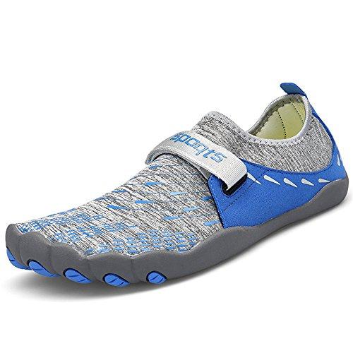 ZOEASHLEY Herren Damen Wandern Barfußschuhe Trekking Schuhe Sommer Ultraleicht Outdoor Fitnessschuhe mit Rutschfest Weiche Sohle Gr.36-46 Blau