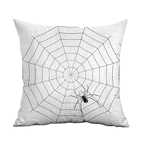 warmfamily Personalized Pillowcase Spider Web Toxic Poisonous Insect Thread Crawly Malicious Bug Halloween Character Design Machine Washable W18 xL18 Black White]()