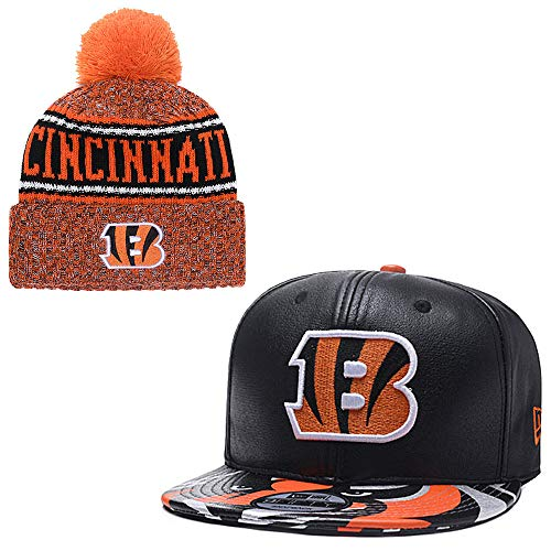 FANwenfeng Couple American Football Team Adjustable Unisex-Adult Sport Flat Cap and Huset Keep Warm Cuff Knit Hat (Cincinnati Bengals)