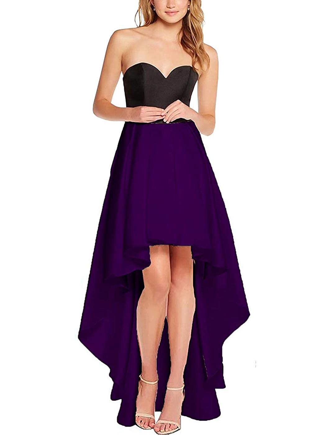 Purple purpleDresses Women's High Low Satin Prom Dress Sweetheart Formal Party Prom Cocktail Gown