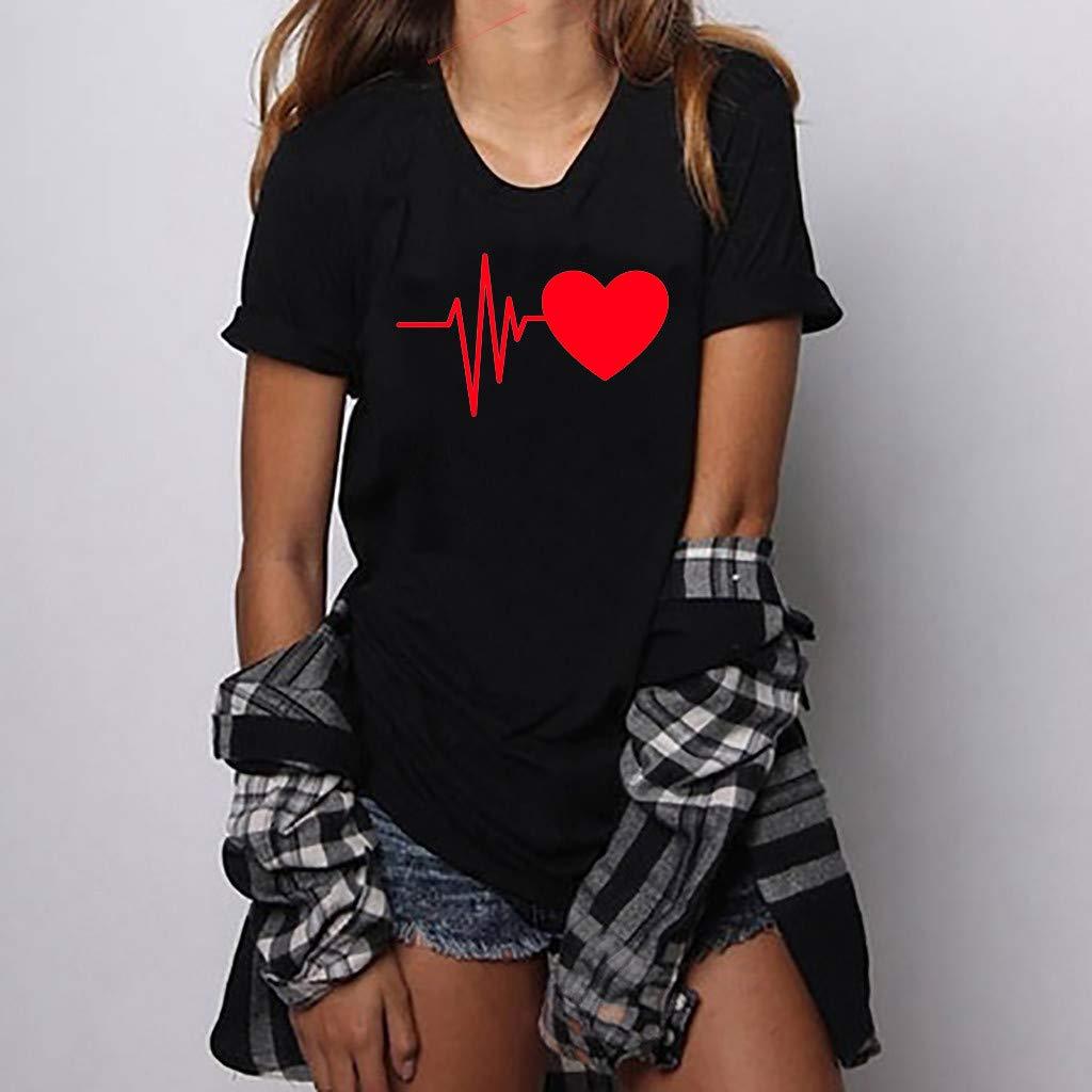 A,B,C,D,S-3XL MALLOOM Women Loose Short Sleeved Heart Print T-Shirt O-Neck Top