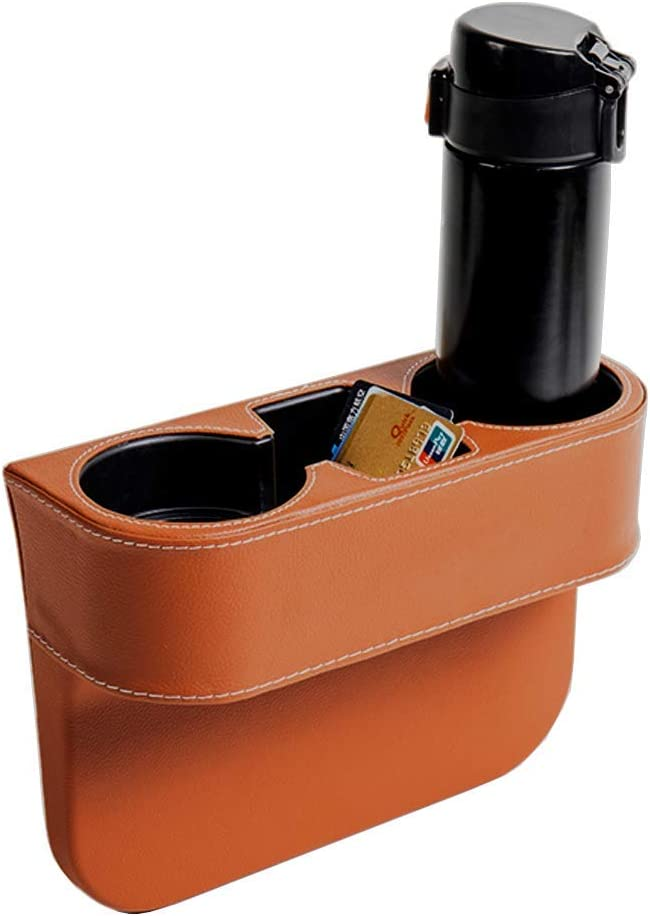 IOKSCTER Car Cup Holder Expander with PU Leather Cover Black Multifunction Car Seat Pocket Glove Phone Mount Organizer,Car Back Seat Storage for Drink Mug Bottle CellPhones Coasters Cards