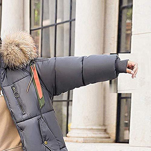 Cappotto Cappotto invernale Grau Cappuccio Accogliente Super donna da Tight donna sintetica Cappuccio selvaggia pelliccia qualità in da lungo spessa per Moda rq7tx6wRrn