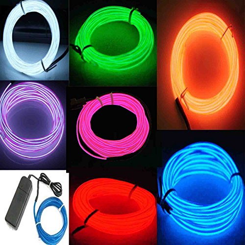 Black Light Dance Costumes (7 Pack - Jytrend 9ft Neon Light El Wire w/ Battery Pack (Green, Blue, Red, Orange, Purple, White, Pink))