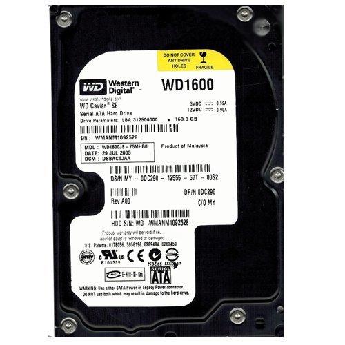 (WD1600JS-75MHB0 Western Digital 160GB 7200RPM SATA 3.0 Gbps 3.5 inch Caviar Hard Drive)