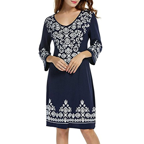 Summer Dress,Lamolory Women 3/4 Sleeve Casual Flowy Print Swing T-Shirt Tunic Dress (Black, L)
