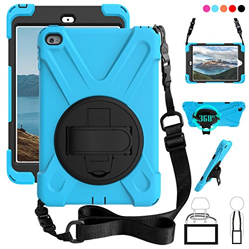 ZenRich iPad Mini 4 Case, 360 Degree Kickstand Dropproof High Impact Resistant Heavy Duty Armor Shockproof Cover w/HandStrap Shoulder Belt for iPad Mini 4 Mini4 4th Gen, SkyBlue (Difference Between The Ipad Mini 3 And 4)