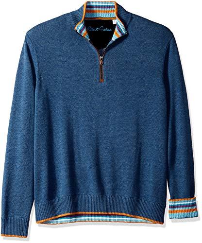 Robert Graham Men's Cavalry Quarter Zip Sweater, Heather Denim, Large from Robert Graham