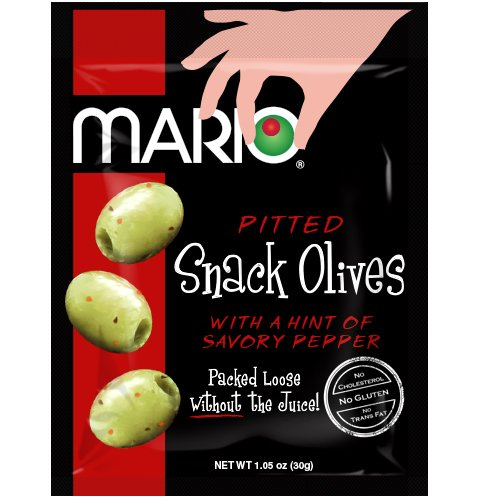 (Mario Camacho Foods Pitted Snack Olives, with a Hint of Savory Pepper, 1.05 Ounce (Pack of 12))