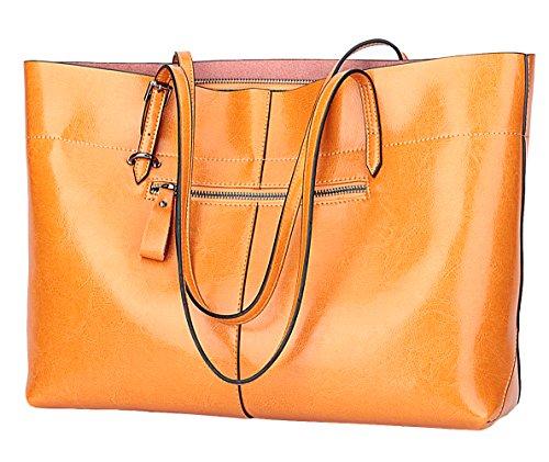 Covelin Women's Handbag Genuine Leather Tote Shoulder Bags Soft Hot Charming Orange