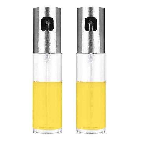 AIYoo - Juego de 2 botellas de aceite de oliva de acero inoxidable para pasta,