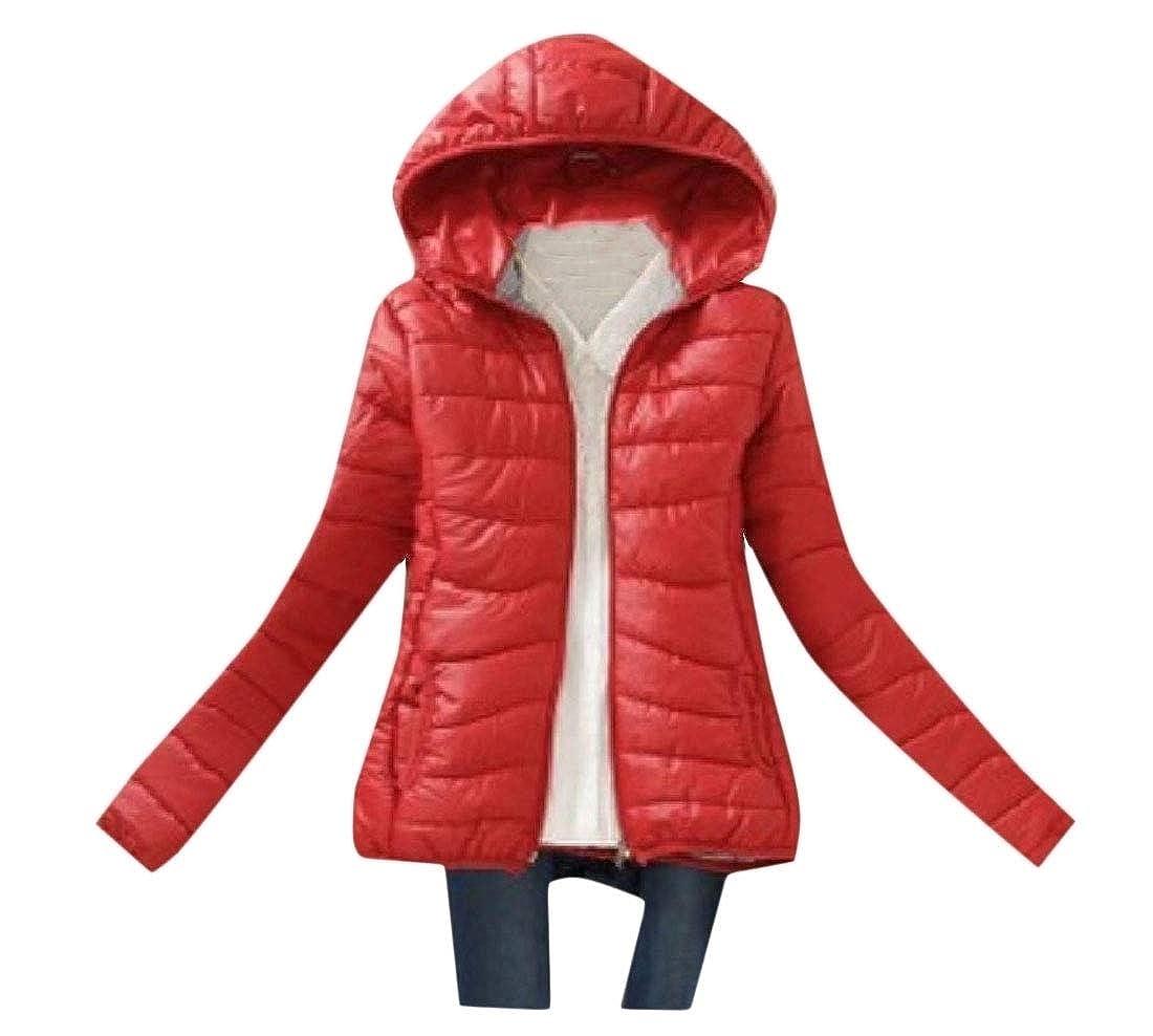 YUNY Womens Winter Coat Outwear Hooded Slim Fitted Puffer Jacket Maroon L