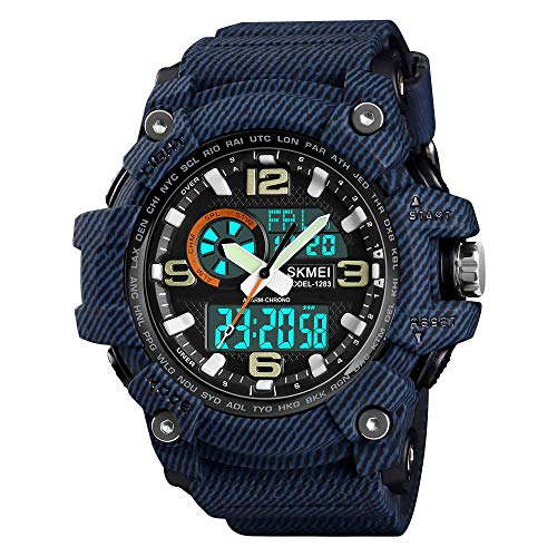 SKMEI Men's Sports Watch, Outdoor Waterproof Military Watch LED Large Face Stopwatch Analog Digital Wrist Watches for Men ()
