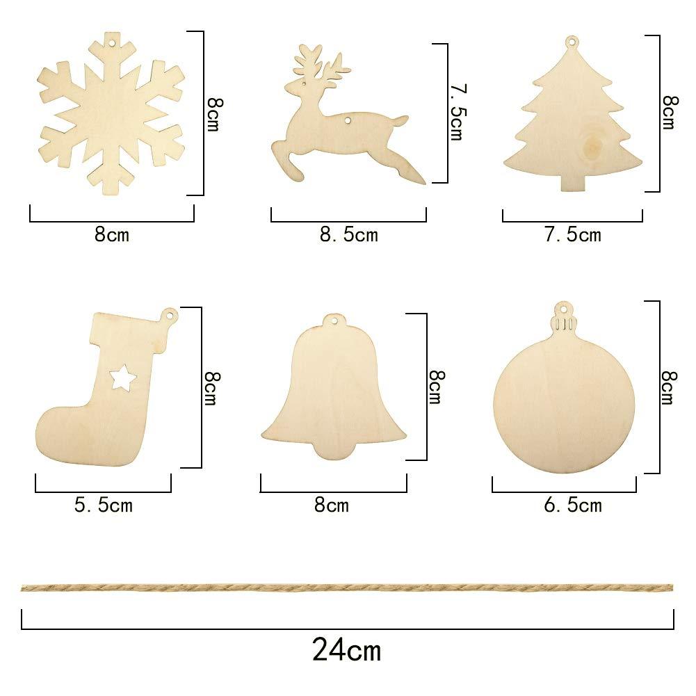 WXJ13 Lot de 30 Styles de 6 D/écorations de No/ël /à Suspendre en Bois Arbre de No/ël D/écorations Bois pour DIY Artisanat D/écoration de No/ël