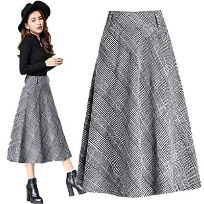 Women High Waist Long Woolen A Word Skirt Thick Section Warm Plaid Skirt
