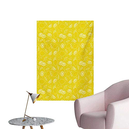 Anzhutwelve Yellow and White Photo Wall Paper Lemons Leaves and Water Droplets Design Monochrome Fruit IllustrationYellow White W32 xL48 The Office Poster