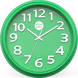 Office + Style 13 Silent Quartz Color Wall Clock with Anti-Scratch Cover- Green