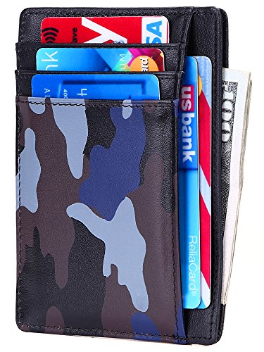 Slim Wallet RFID Front Pocket Wallet Minimalist Secure Thin Credit Card Holder (Camouflage Blue)