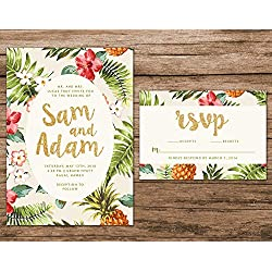 Tropical Wedding Invitation, Destination Wedding Invitation, Hawaiian Wedding Invite