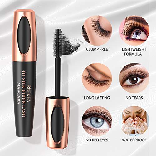 RNEKFA 4D Silk Fiber Lash Mascara,Lash Mascara,No Clumping,Natural Waterproof Smudge-proof Mascara,Natural Thickening Lengthening Mascara, No Smudging, Lasting All Day for Women and Salon(1PACK)