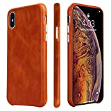 TOOVREN iPhone Xs Case, iPhone X/10 Case Genuine Leather Cover Case Protective Ultra Thin Anti-Slip Vintage Shell Hard Back Cover for Apple iPhone X/Xs 5.8'' (2018) Brown