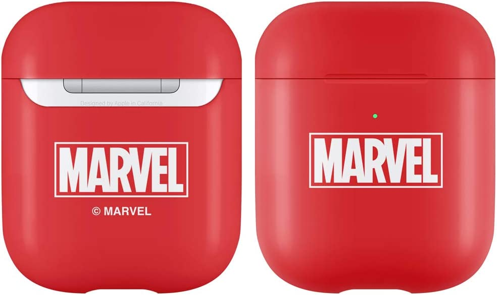 Marvel Plastic Airpods Case, Compatible with Apple Airpods 1 & 2, [Front LED Visible] (Logo Red)